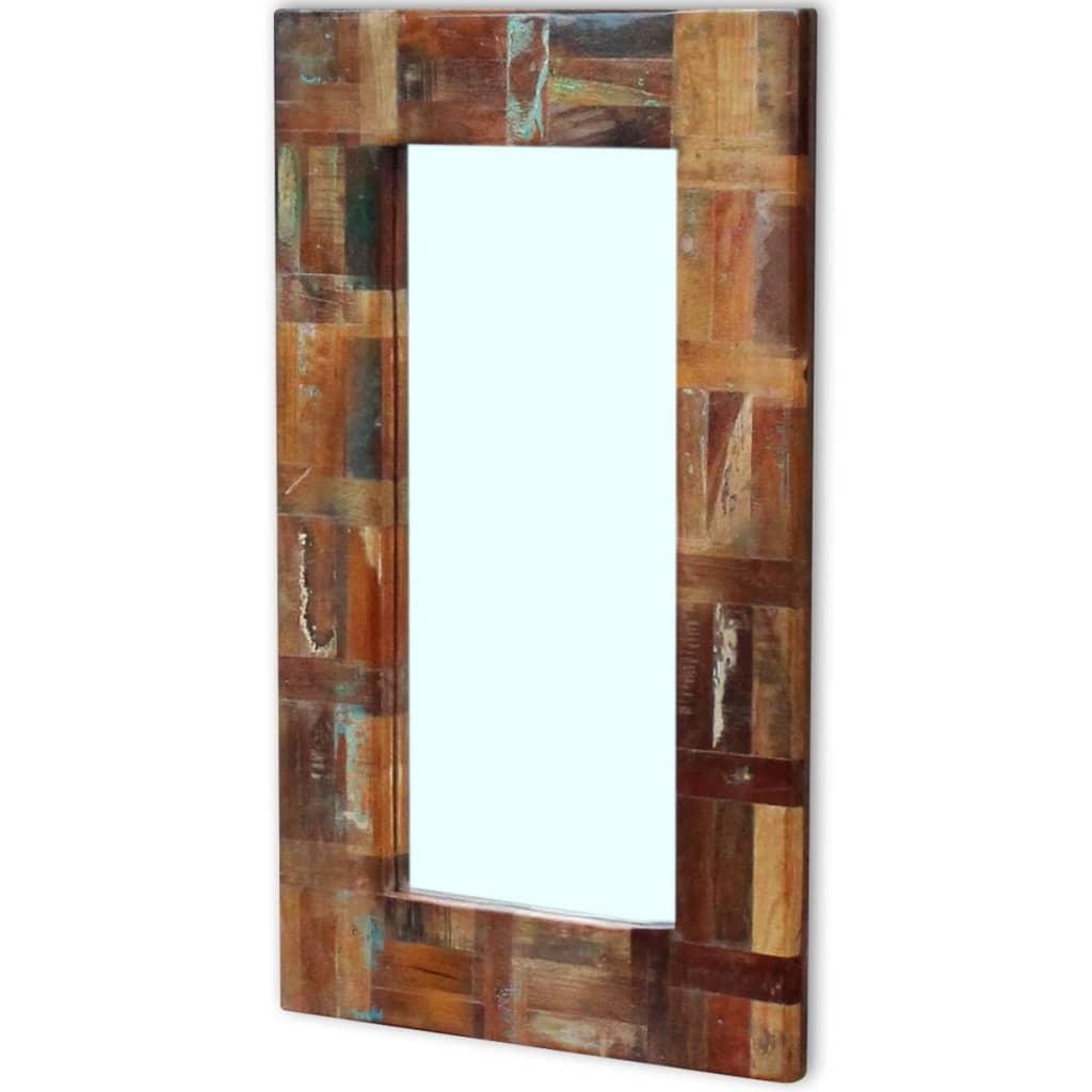 Vidaxl mirror solid reclaimed wood 80x50 cm for Mirror 80 x 50