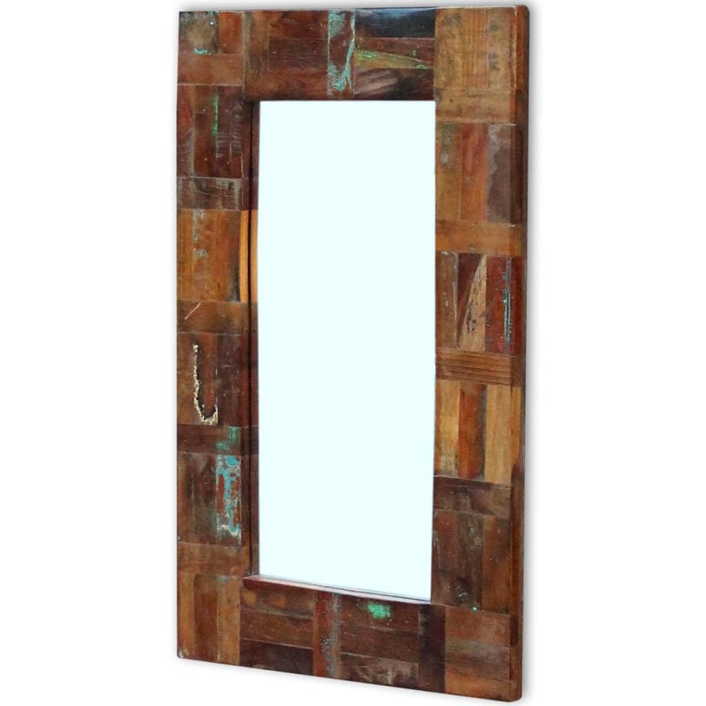 Acheter vidaxl miroir bois de r cup ration massif 80 x 50 for Miroir 50 x 25