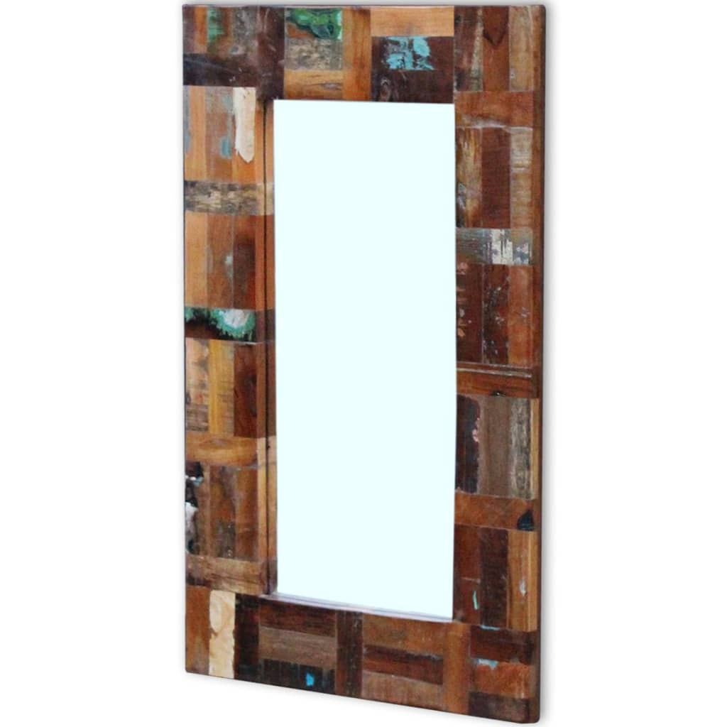Vidaxl mirror solid reclaimed wood 80x50 cm for Miroir 50 x 80