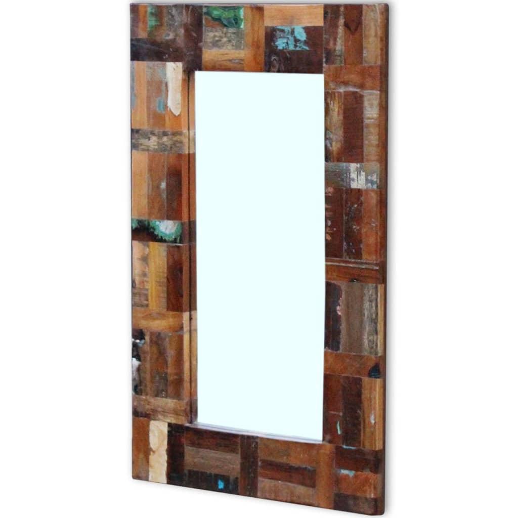 vidaxl espejo de madera maciza reciclada 80x50 cm tienda online. Black Bedroom Furniture Sets. Home Design Ideas