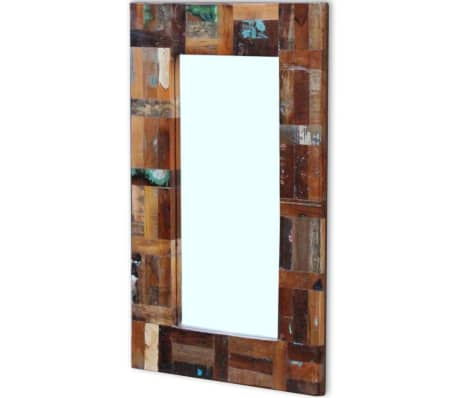 Vidaxl miroir bois de r cup ration massif 80 x 50 cm for Miroir bois 50 x 70