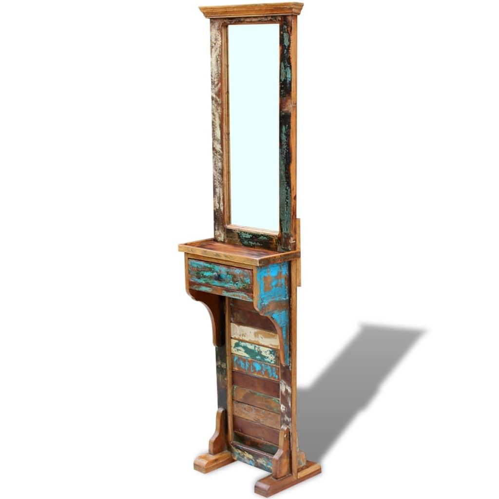 acheter vidaxl miroir de couloir bois de r cup ration massif 47 x 23 x 180 cm pas cher. Black Bedroom Furniture Sets. Home Design Ideas