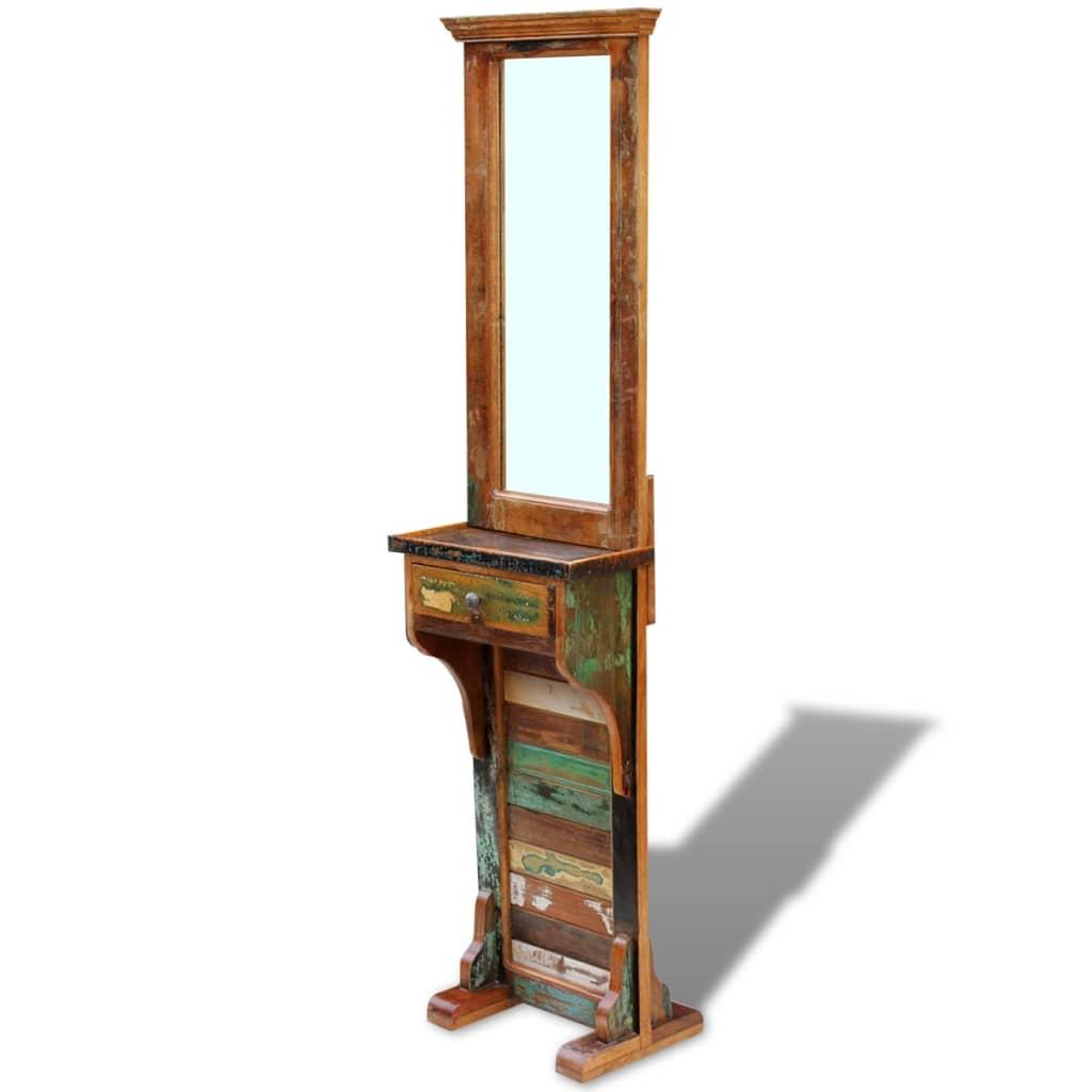 vidaXL tömör újrahasznosított fa előszoba tükör 47x23x180 cm