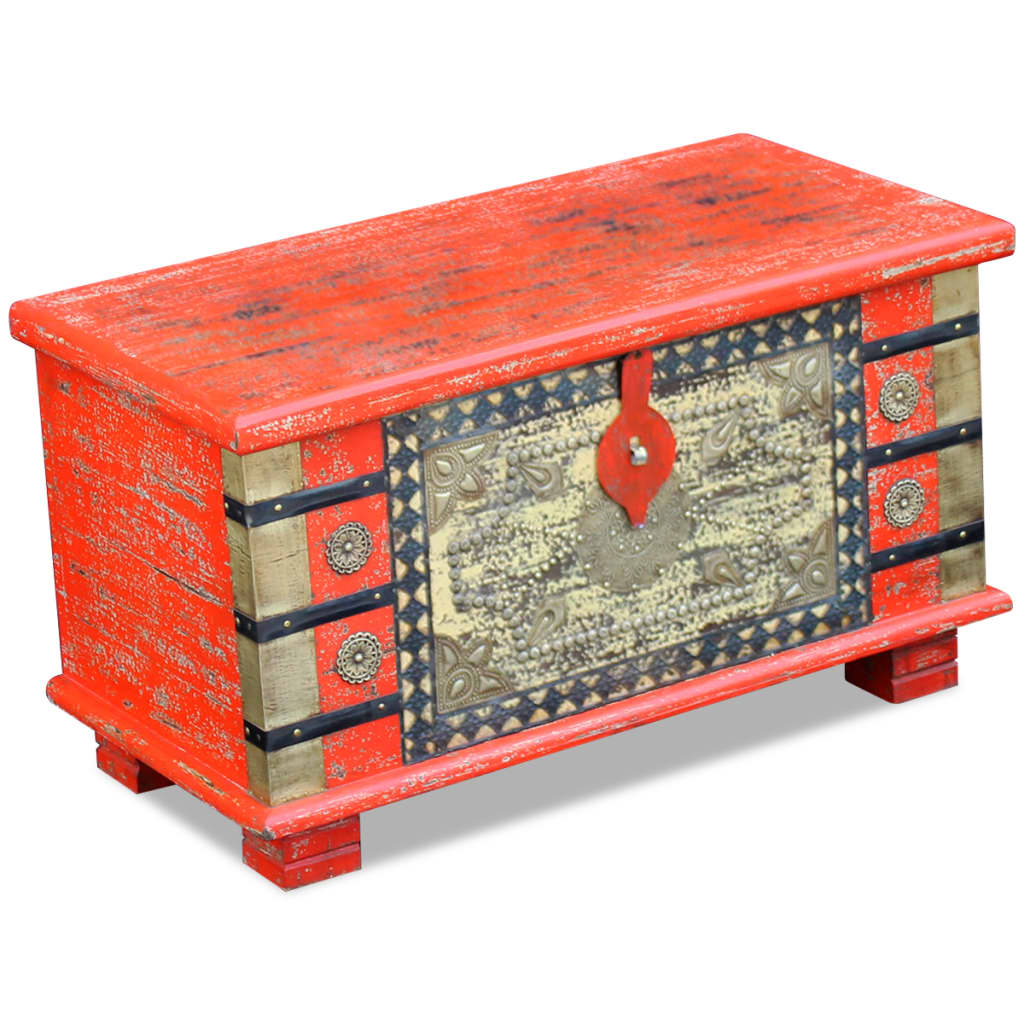 vidaXL 80x40x45 cm Piros mangófa tárolóláda