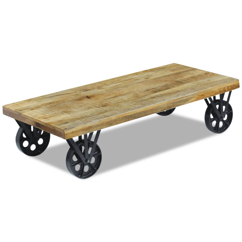 Vidaxl coffee table mango wood 120x60x30 cm - Table largeur 60 cm ...