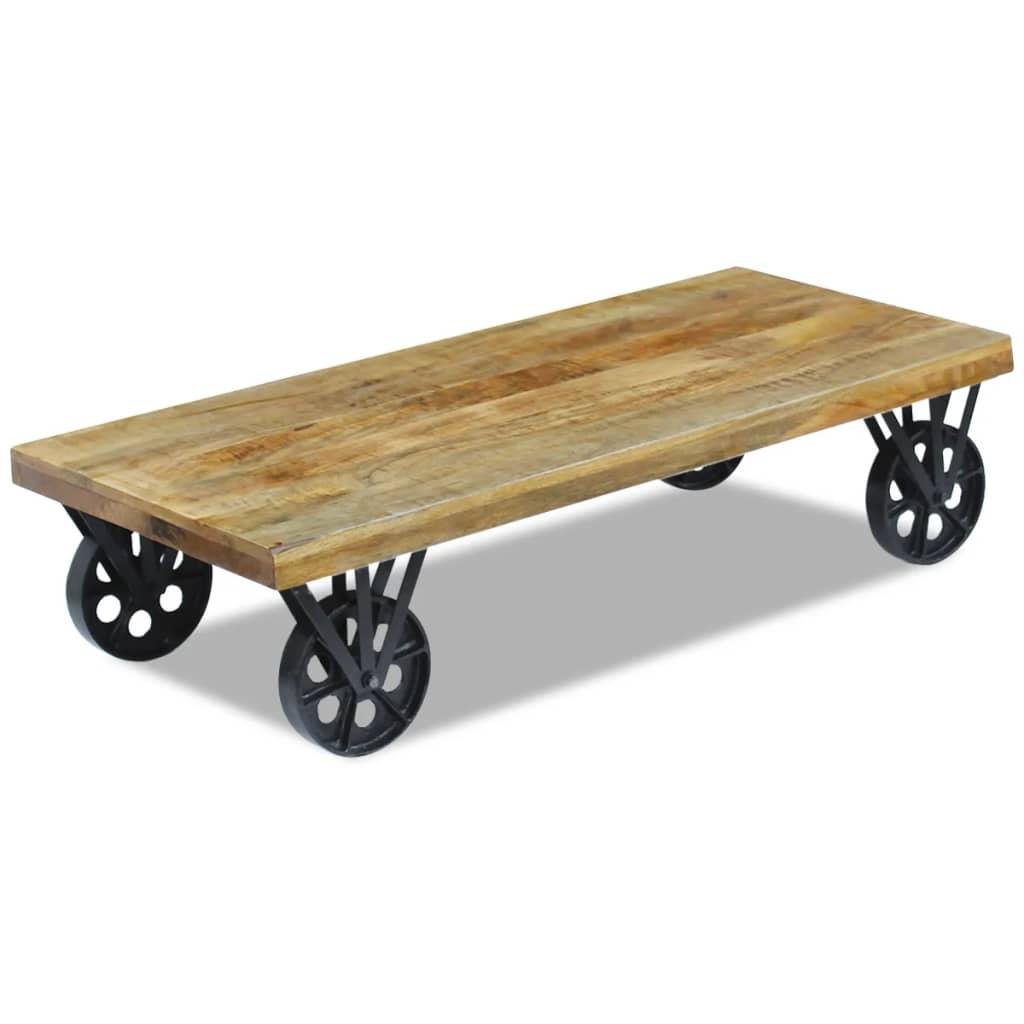 Vidaxl coffee table mango wood 120x60x30 cm for Coffee tables 30cm wide