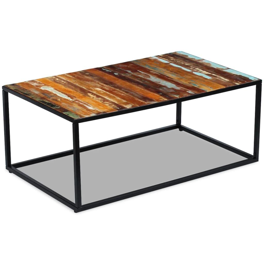 vidaXL 100x60x40 cm Tömör újrahasznosított fa dohányzóasztal