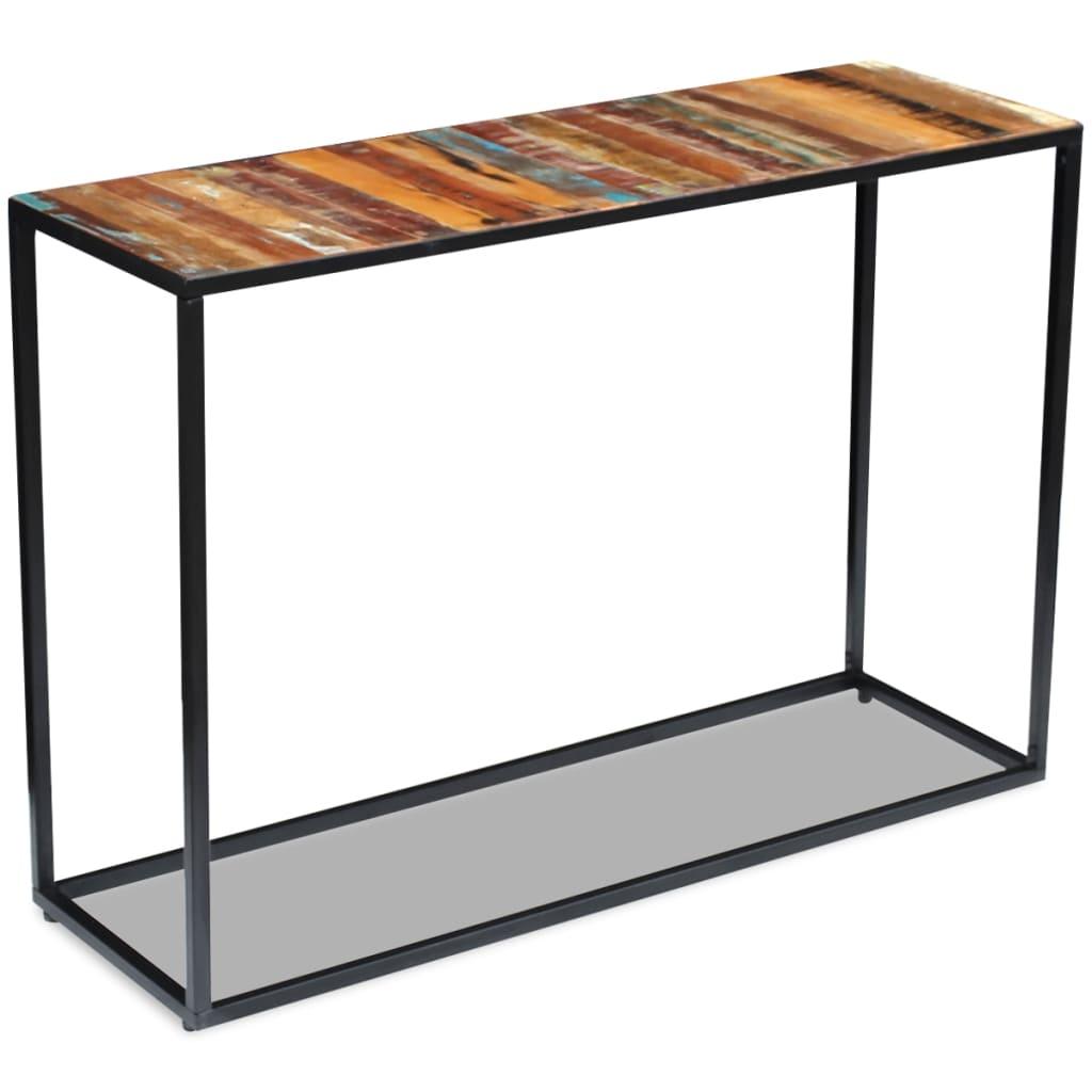 vidaXL 110x35x76 cm Újrahasznosított tömör fa konzolasztal