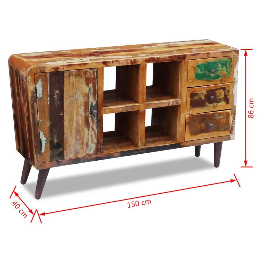 acheter vidaxl buffet bois de r cup ration massif 150 x 40 x 86 cm pas cher. Black Bedroom Furniture Sets. Home Design Ideas