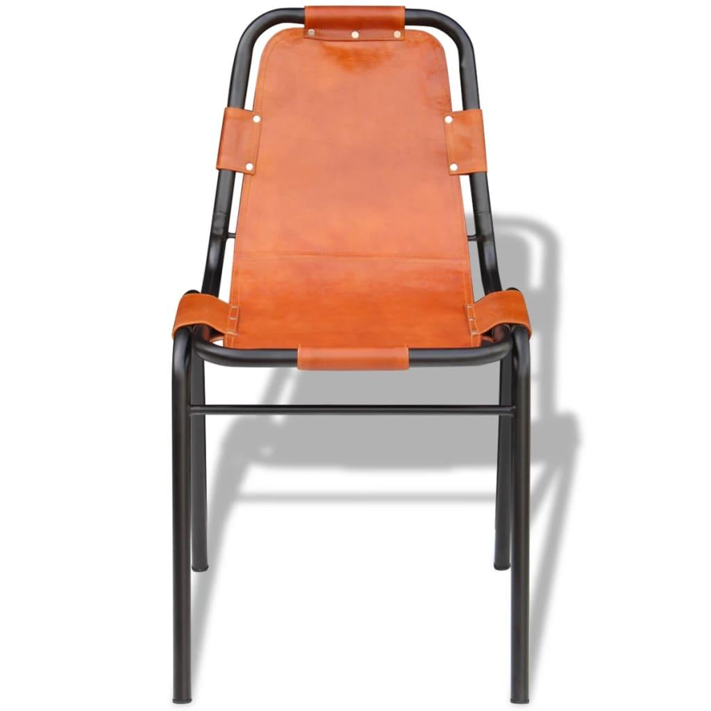 vidaxl eetkamerstoelen 2 stuks bruin 59x44x89 cm echt leer online kopen. Black Bedroom Furniture Sets. Home Design Ideas