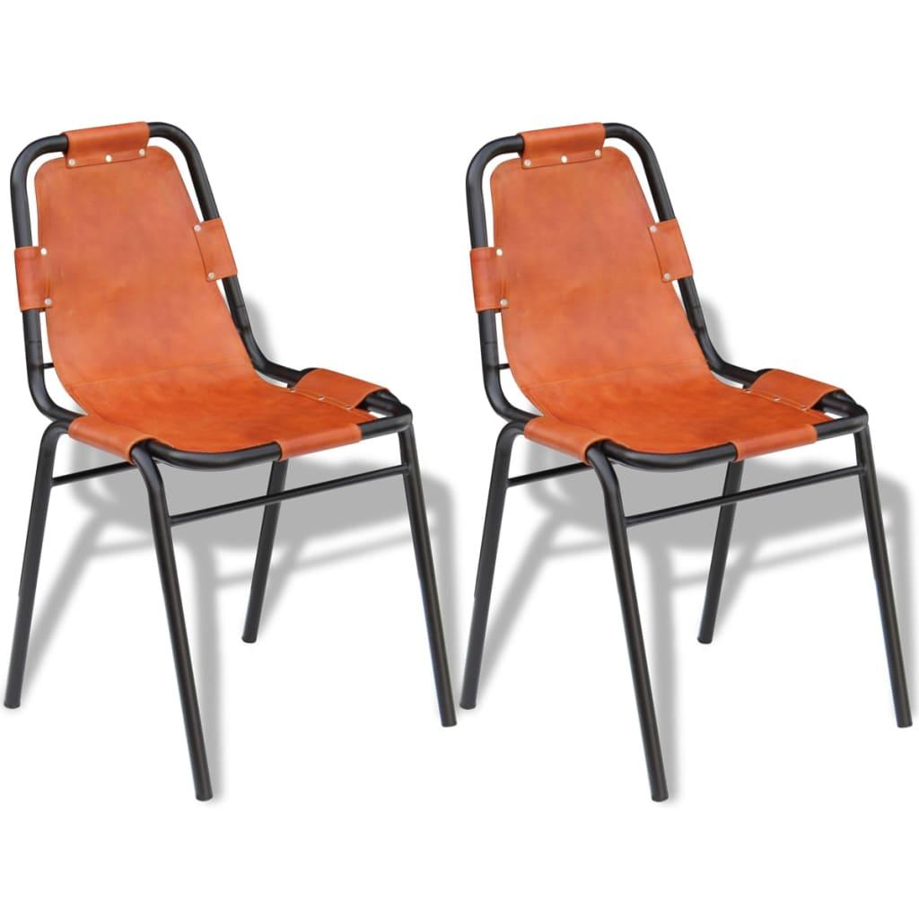 vidaXL Krzesła do jadalni z prawdziwej skóry, brązowe 2 szt.