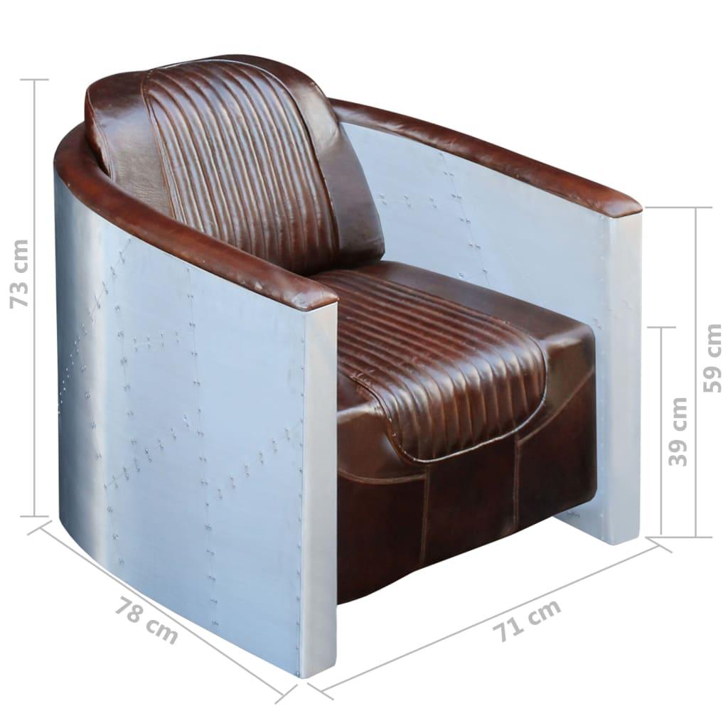 vidaxl echtleder clubsessel relaxsessel ledersessel loft sofa retro dunkelbraun eur 435 99. Black Bedroom Furniture Sets. Home Design Ideas