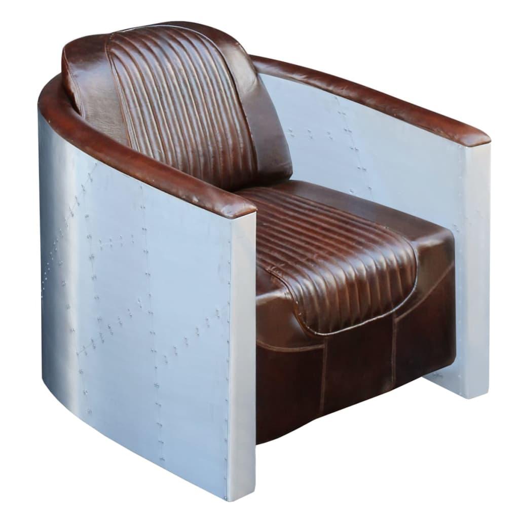 vidaXL Fotel ciemnobrązowy 79x71x90 cm z prawdziwej skóry