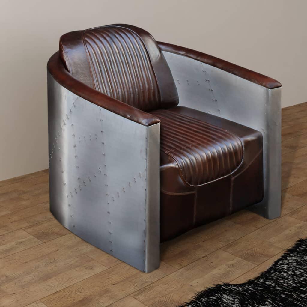 VIDAXL FAUTEUIL CUIR véritable Marron foncé sofa meuble mobilier ...