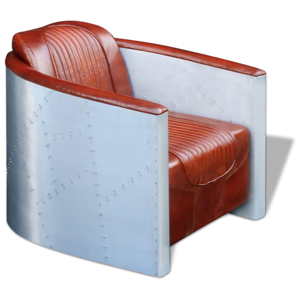 vidaXL Fotel jasny brąz 79x71x90 cm z prawdziwej skóry