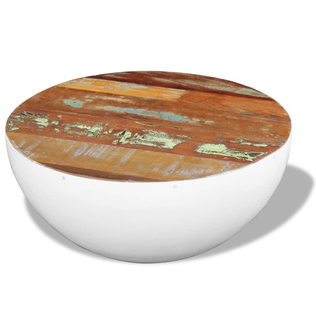 vidaXL 60x60x30 cm csésze alakú tömör újrahasznosított fa dohányzóasztal