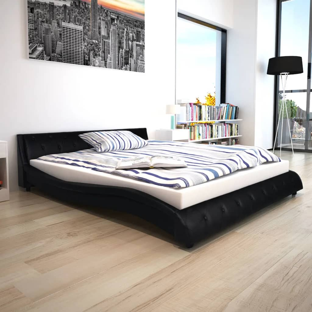vidaxl bettrahmen kunstleder 160x200 cm schwarz g nstig kaufen. Black Bedroom Furniture Sets. Home Design Ideas
