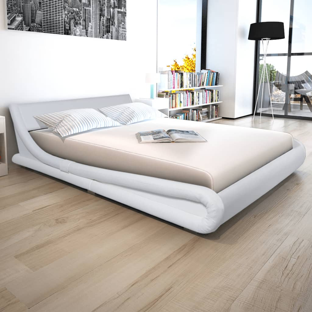 vidaxl cadre de lit 160 x 200 cm cuir synth tique blanc. Black Bedroom Furniture Sets. Home Design Ideas