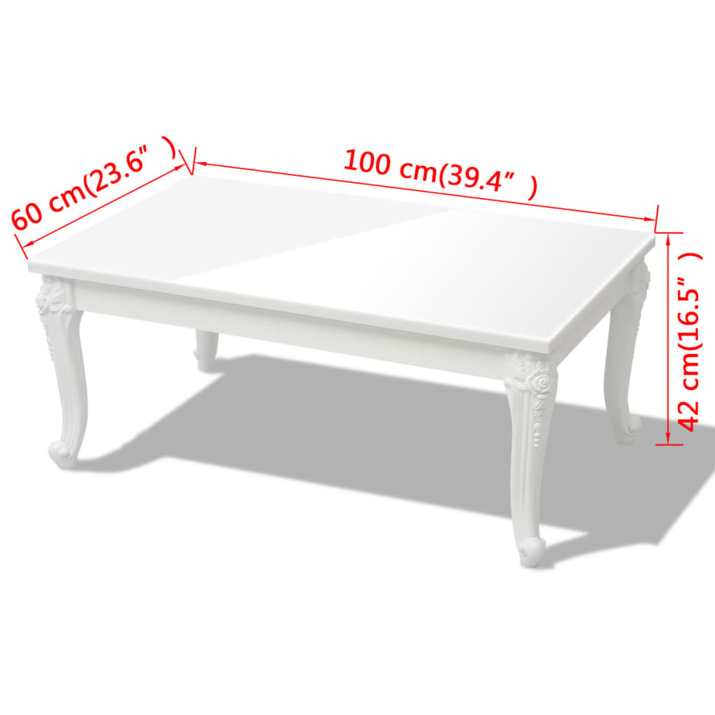 Vidaxl Coffee Table 100x60x42 Cm High Gloss White