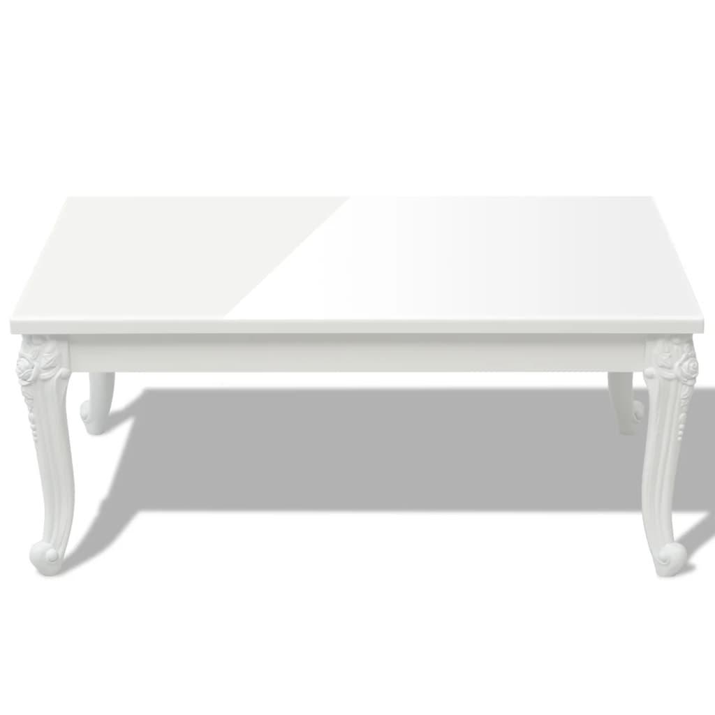 vidaXL-Tavolino-Tavolo-da-Caffe-Sala-Pranzo-Salotto-100x60x42-cm-Bianco-Lucido