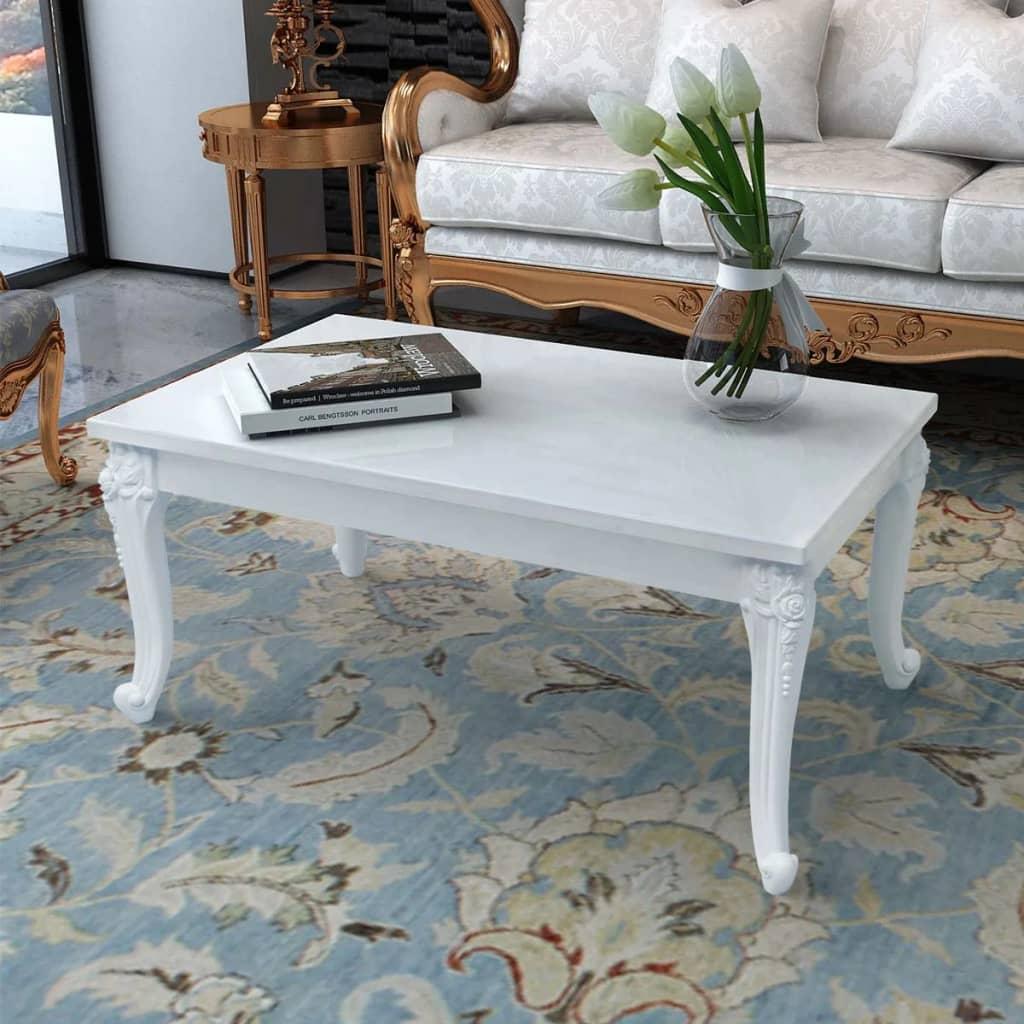 vidaXL Fehér magasfényű 100x60x42 cm-es dohányzóasztal