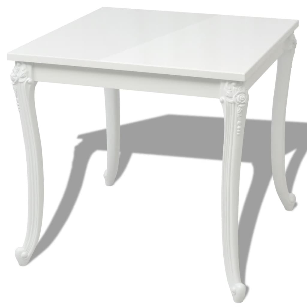 vidaXL Eettafel 80 x 76 cm hoogglans wit