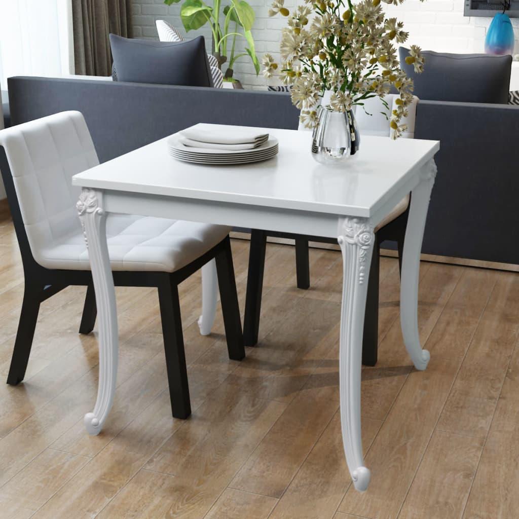 vidaXL Fényes 80x80x76 cm-es fehér étkező asztal