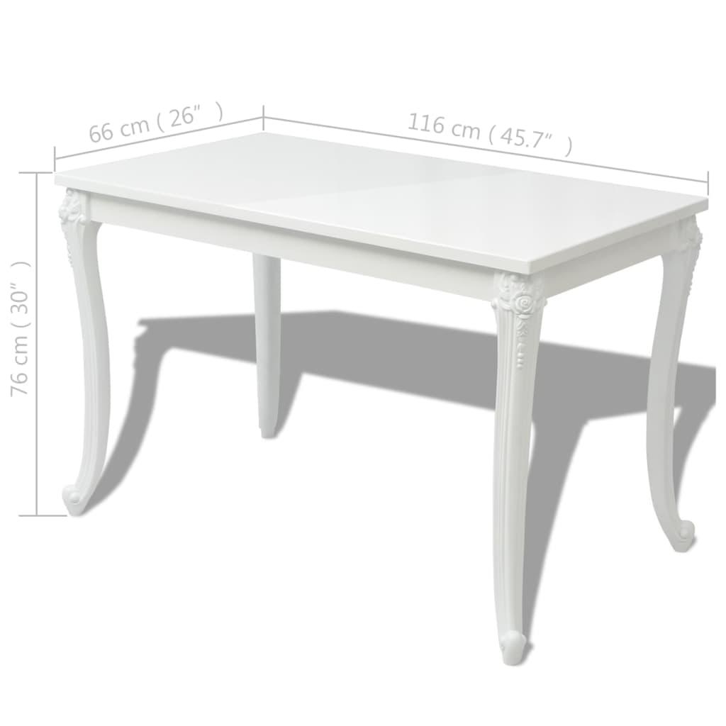Vidaxl tavolo da pranzo 120x70x76 cm bianco lucido for Tavolo 70 x 120