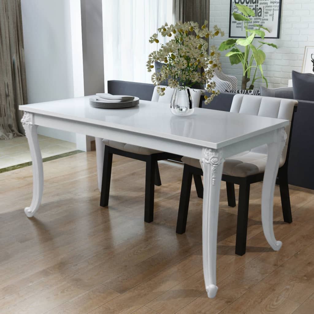 Petite Table De Cuisine Blanche: VidaXL High Gloss White Dining Dinner Table Dining Room