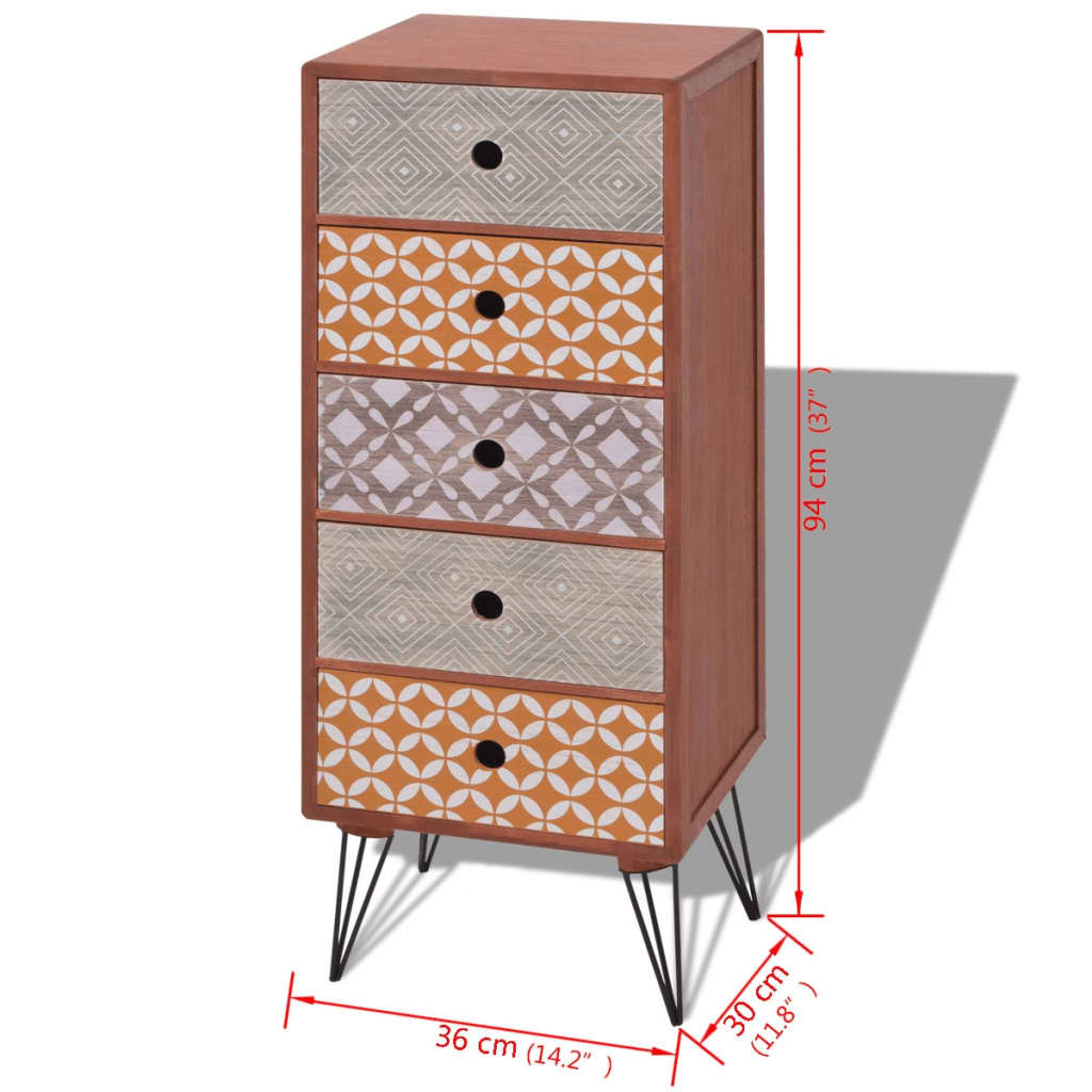 Acheter vidaxl armoire de rangement avec 5 tiroirs marron for Armoire avec rangement
