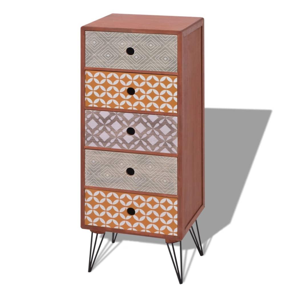 vidaXL Komoda z 5 szufladami brązowa