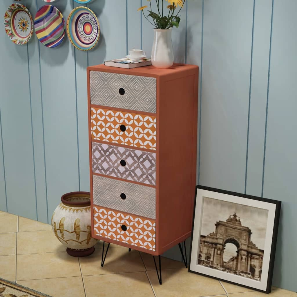 Bon ... VidaXL Brown Chest Drawers Bedroom Dresser Tallboy Side