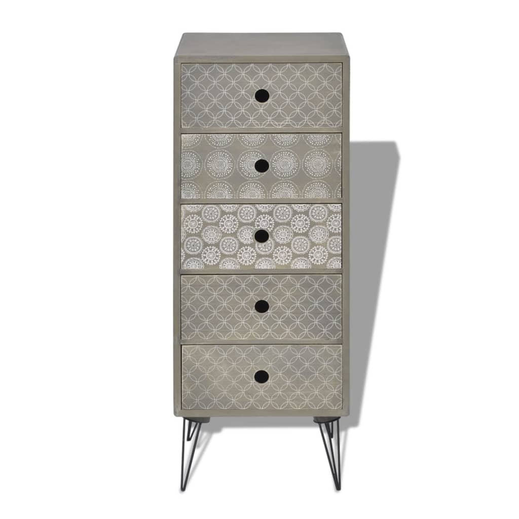 Vidaxl side cabinet 5 drawers grey storage sideboard - Bedroom storage cabinets with drawers ...