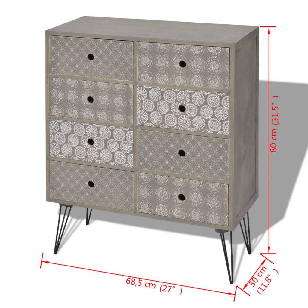 Acheter vidaxl armoire de rangement avec 8 tiroirs gris for Armoire rangement tiroir