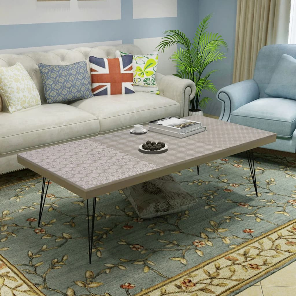 Large Retro Coffee Table Foot Stool 120cm Grey Patterned Living