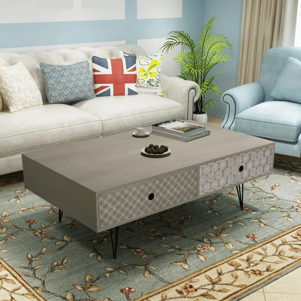 der vidaxl couchtisch 100x60x35 cm grau online shop. Black Bedroom Furniture Sets. Home Design Ideas