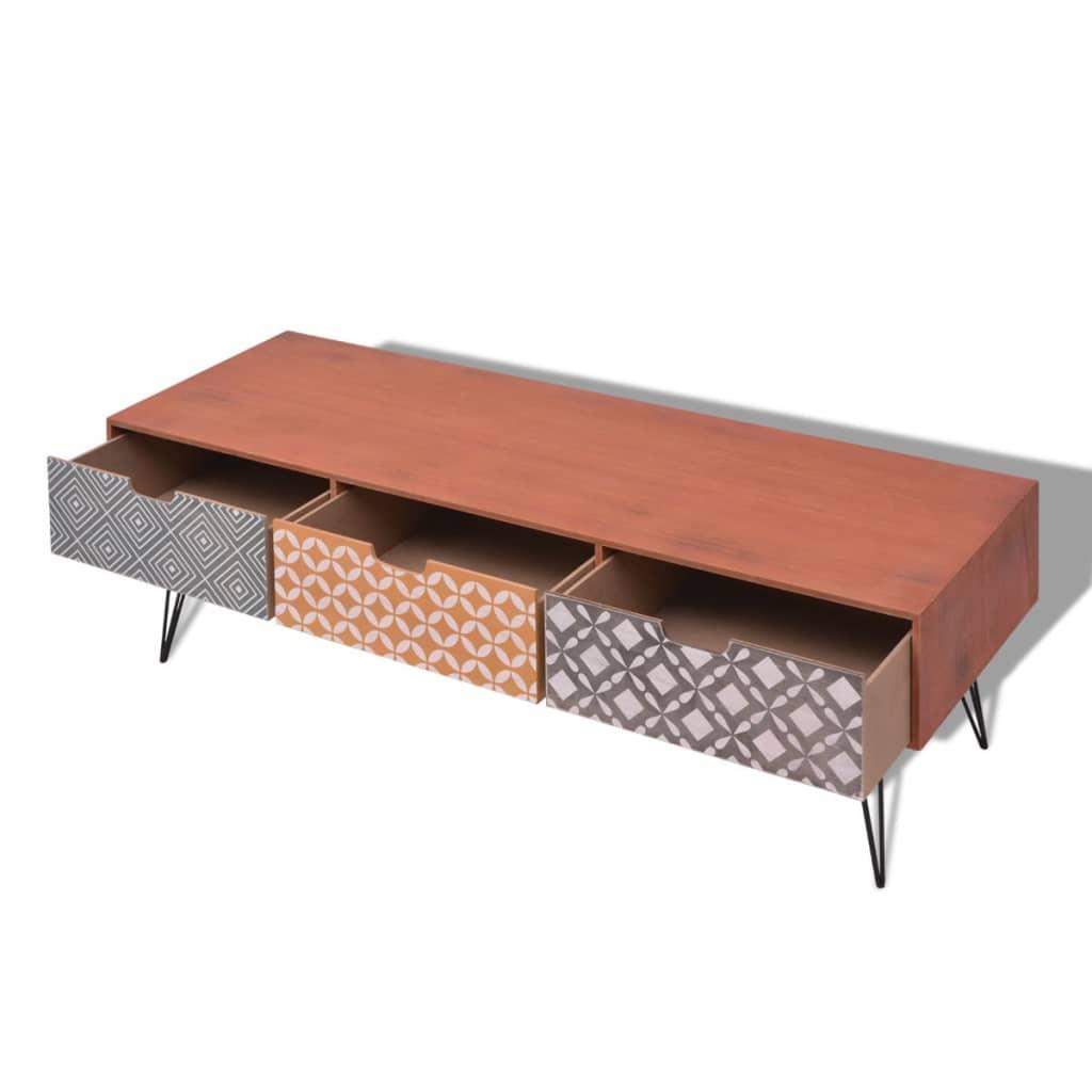 la boutique en ligne vidaxl meuble tv avec 3 tiroirs 120 x 40 x 36 cm marron. Black Bedroom Furniture Sets. Home Design Ideas