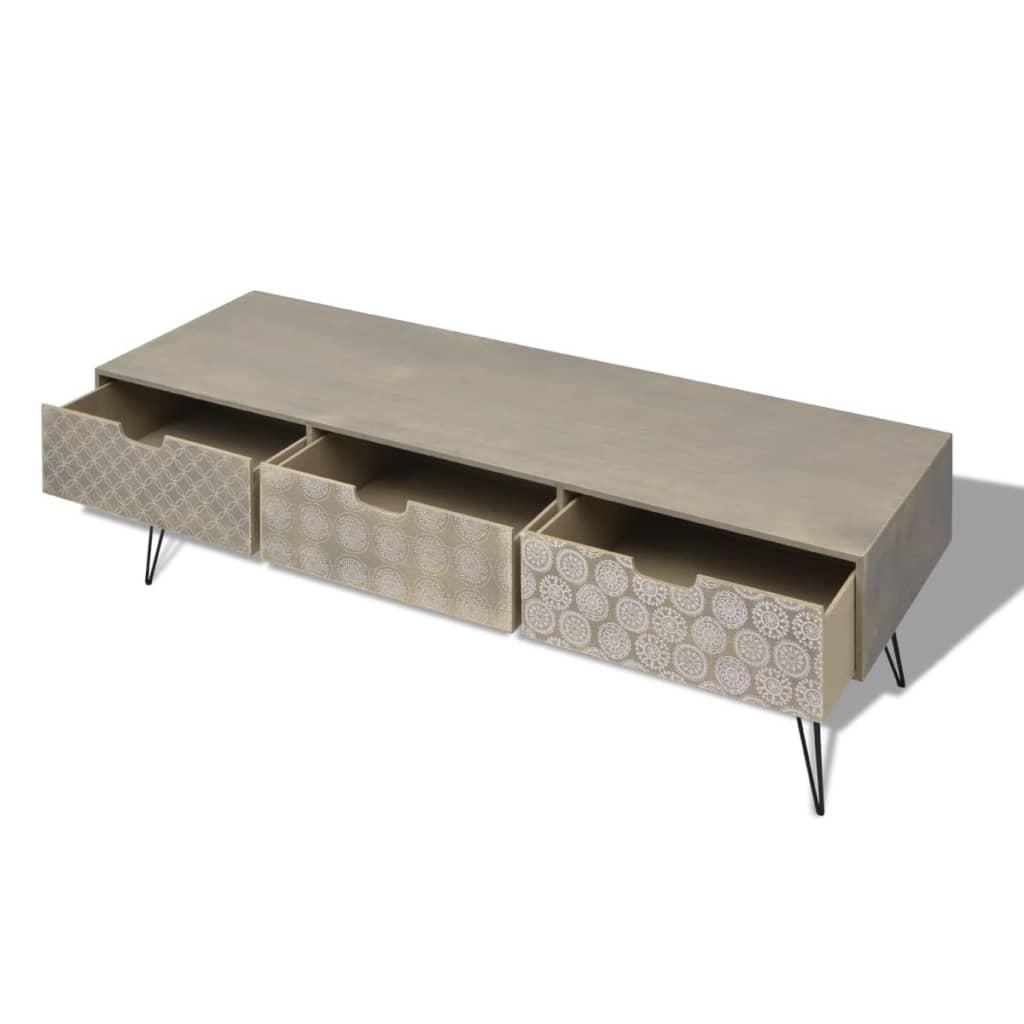 la boutique en ligne vidaxl meuble tv avec 3 tiroirs 120 x 40 x 36 cm gris. Black Bedroom Furniture Sets. Home Design Ideas