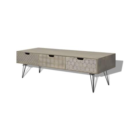 vidaxl tv schrank mit 3 schubladen 120x40x36 cm grau im. Black Bedroom Furniture Sets. Home Design Ideas