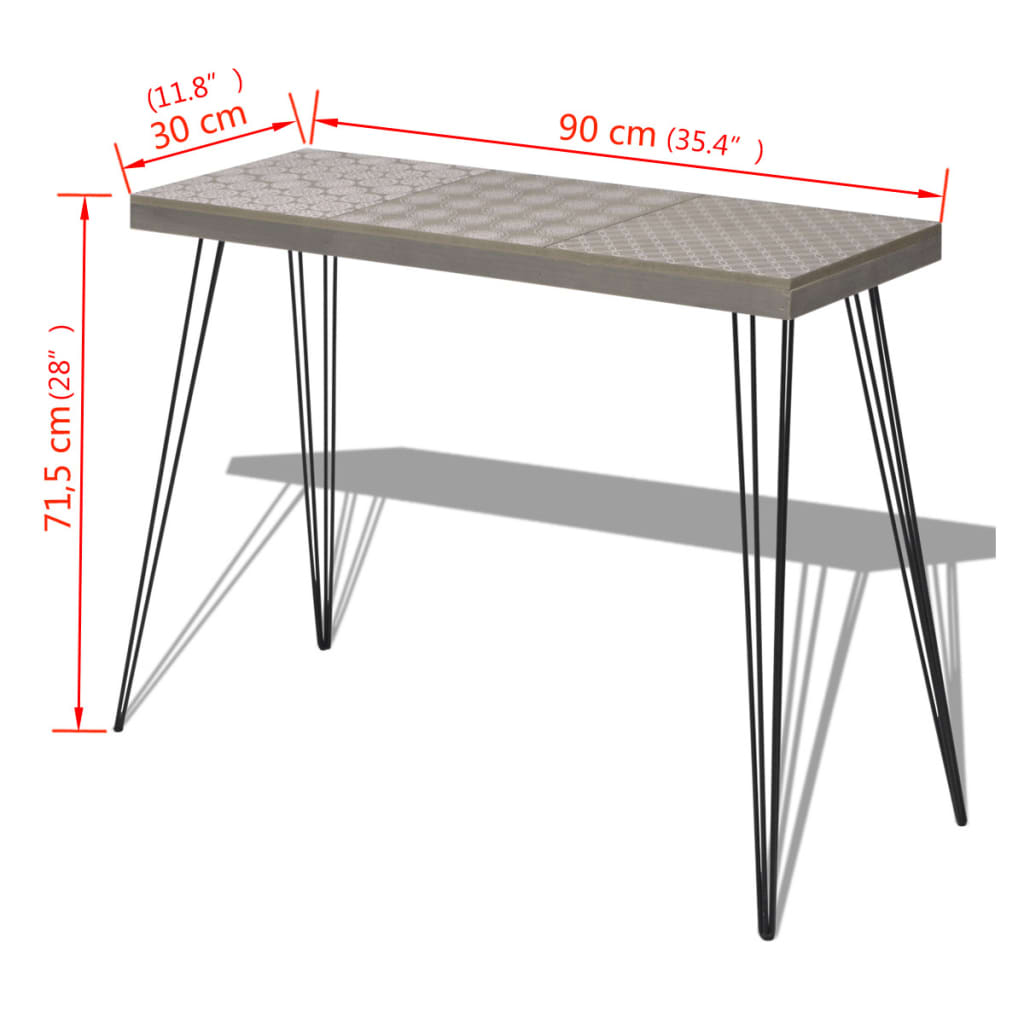 Vidaxl console table 90x30x71 5 cm grey for Table induction 90 cm