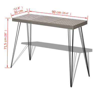"vidaXL Console Table 35.4""x11.8""x28"" Gray[7/7]"