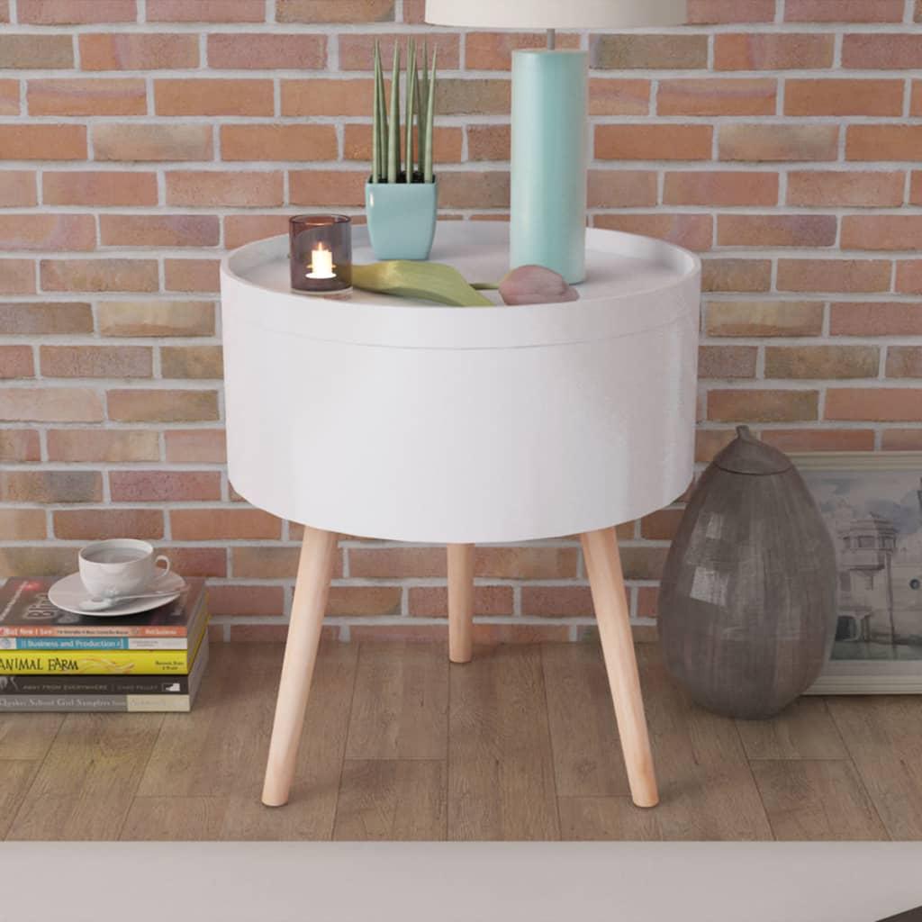 vidaXL 39,5x44,5 cm kerek kisasztal tálaló tálcával fehér