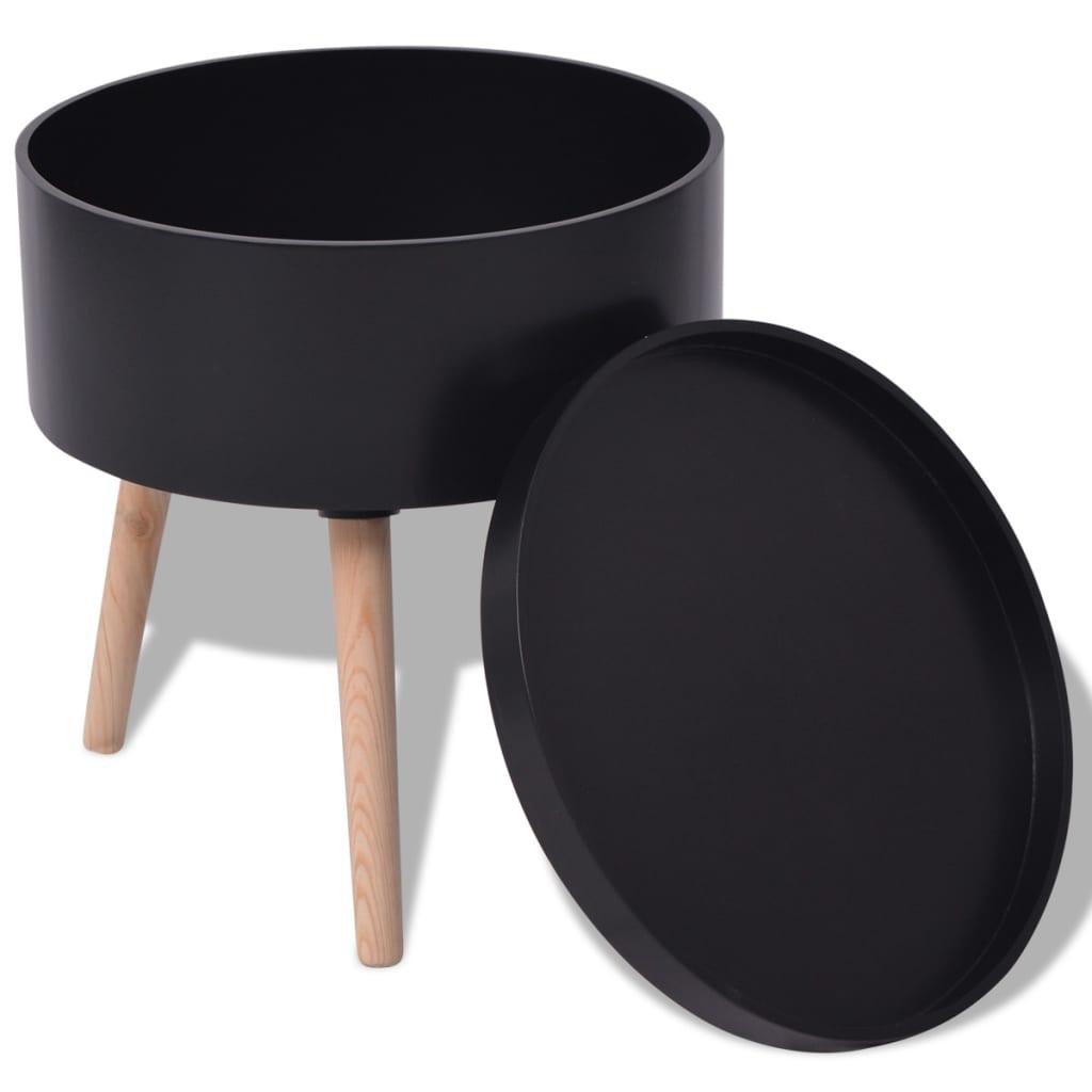 vidaxl beistelltisch mit serviertablett rund 39 5x44 5 cm schwarz g nstig kaufen. Black Bedroom Furniture Sets. Home Design Ideas
