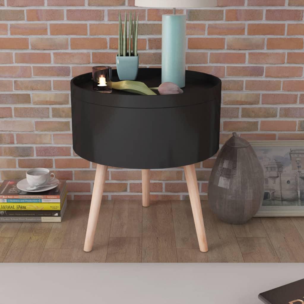 vidaXL 39,5x44,5 cm kerek kisasztal tálaló tálcával fekete