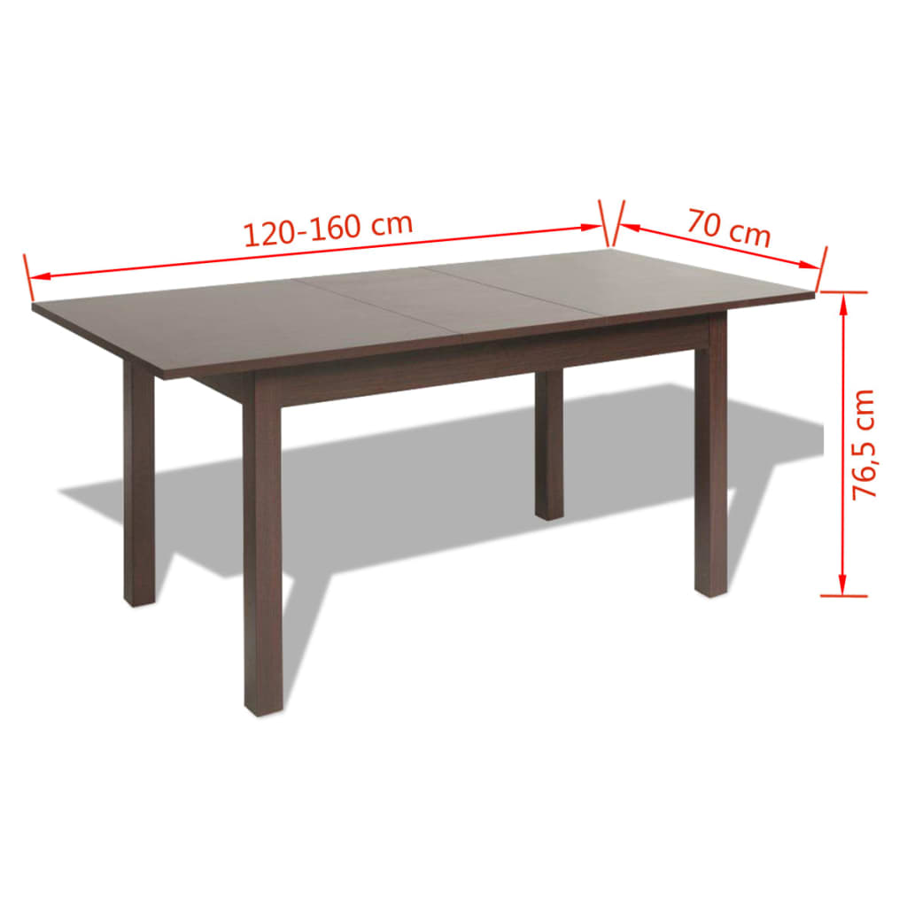 Acheter vidaxl table extensible de salle manger marron for Solde table a manger