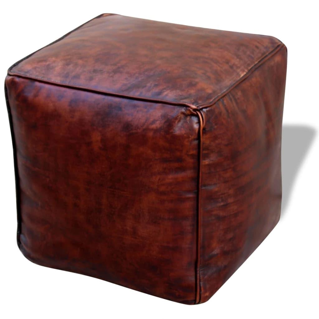 vidaXL 45x45x45 cm négyszögletes puff valódi bőrből sötétbarna