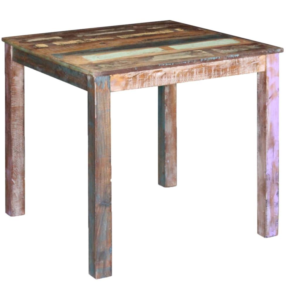 vidaXL 80x82x76 cm tömör újrahasznosított fa étkezőasztal