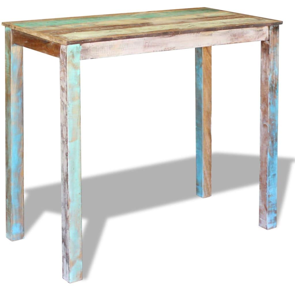 Vidaxl mesa alta de bar madera maciza reciclada 115x60x107 for Bar con madera reciclada