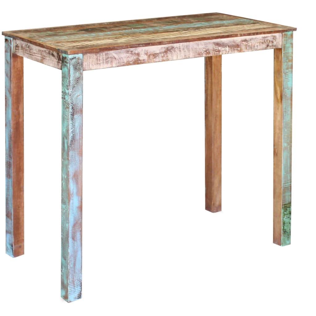 Vidaxl mesa alta de bar madera maciza reciclada 115x60x107 cm - Mesas altas de bar ...