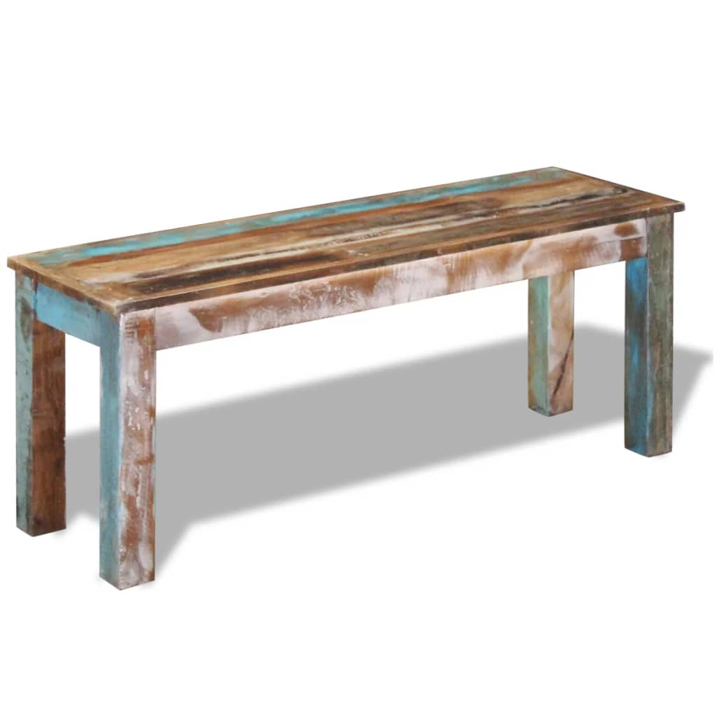 vidaXL tömör újrahasznosított fa pad 110x35x45 cm